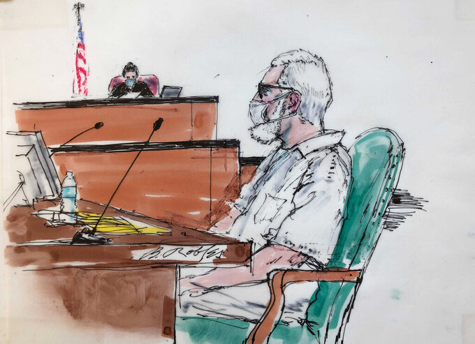 In this courtroom artist sketch Tahawwur Rana, appears during an extradition hearing in federal US court in Los Angeles, Thursday, June 24, 2021. A federal judge is weighing whether Rana, a former Chicago businessman, will be extracted to India in connection with his alleged involvement in the 2008 Mumbai terrorist attack in which 166 people, including six Americans were killed. (Bill Robles for AP)