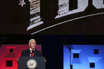 Vice president Mike Pence speaks at the annual meeting of The Southern Baptist Convention at the Kay Bailey Hutchison Convention Center in Dallas Wednesday, June 13, 2018. (Andy Jacobsohn/The Dallas Morning News via AP)
