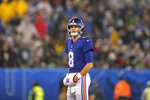 New York Giants quarterback Daniel Jones (8) reacts in the second half of an NFL football game against the New York Giants, Sunday, Dec. 29, 2019, in East Rutherford, N.J. (AP Photo/Adam Hunger)