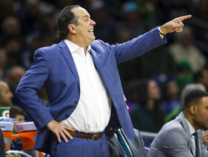 Notre Dame head coach Mike Brey calls a play against Boston College during an NCAA college basketball game Saturday, Dec. 7, 2019 at Purcell Pavilion in South Bend, Ind. (Michael Caterina/South Bend Tribune via AP)