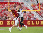 Northern Iowa defensive back Xavior Williams, right, blocks a pass intended for Iowa State tight end Chase Allen during the first half of an NCAA college football game, Saturday, Aug. 31, 2019, in Ames. (AP Photo/Matthew Putney)