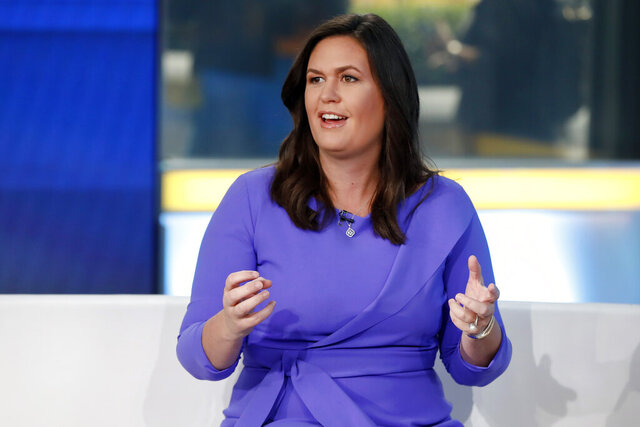 FILE - In this Friday, Sept. 6, 2019, file photo, Fox News contributor Sarah Sanders makes her first appearance on the