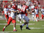 Stanford's Colby Parkinson (84) can't hang on to the ball while being covered by Arizona's Scottie Young Jr., left, during the first half of an NCAA college football game Saturday, Oct. 26, 2019, in Stanford, Calif. (AP Photo/Ben Margot)