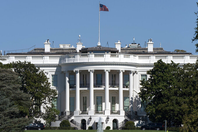 The White House and South Lawn on Thursday, Oct. 8, 2020, in Washington. (AP Photo/Jacquelyn Martin)