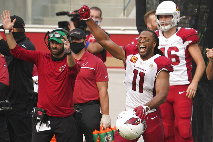 Arizona Cardinals wide receiver Larry Fitzgerald (11) celebrates during the second half of an NFL football game against the San Francisco 49ers in Santa Clara, Calif., Sunday, Sept. 13, 2020. (AP Photo/Tony Avelar)