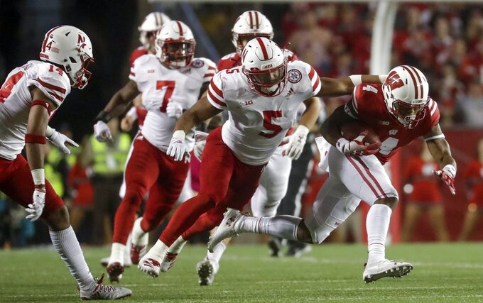 Wisconsin's A.J. Taylor runs after a catch during the first half of an NCAA college football game against Nebraska Saturday, Oct. 6, 2018, in Madison, Wis. (AP Photo/Morry Gash)