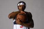 Washington Wizards guard Bradley Beal poses for a photograph during an NBA basketball media day, Monday, Sept. 27, 2021, in Washington. (AP Photo/Nick Wass)