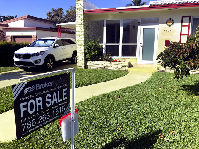 FILE - In this Feb. 21, 2020 file photo, a home is shown for sale in Surfside, Fla. U.S. home prices jumped in October by the most in more than six years as a pandemic-fueled buying rush drives the number of available properties for sale to record lows. (AP Photo/Wilfredo Lee, File)
