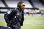 FILE - In this Nov. 10, 2019 file photo Atlanta Falcons cornerback Isaiah Oliver arrives before an NFL football game against the New Orleans Saints in New Orleans. Whenever normalcy returns to the NFL, Isaiah Oliver knows there will be a new role waiting for him as a leader in the Atlanta Falcons' secondary. A second-round pick in 2018, Oliver is suddenly one of the most experienced cornerbacks on the roster after the team cut ties with longtime stalwart Desmond Trufant in a salary cap move. (AP Photo/Butch Dill, file)
