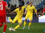 Ukraine's Artem Besedin scores his side's second goal during the Euro 2020 group B qualifying soccer match between Serbia and Ukraine, on the stadium Rajko Mitic in Belgrade, Serbia, Sunday, Nov. 17, 2019. (AP Photo/Darko Vojinovic)