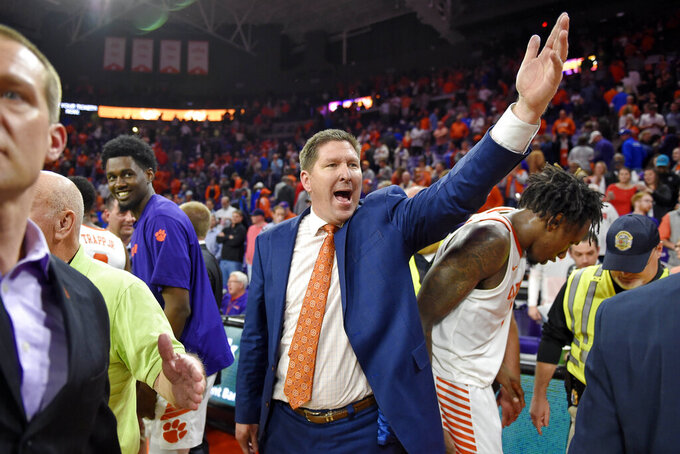 Clemson head coach Brad Brownell reacts after an NCAA college basketball game against Duke Tuesday, Jan. 14, 2020, in Clemson, S.C. Clemson won 79-72. (AP Photo/Richard Shiro)