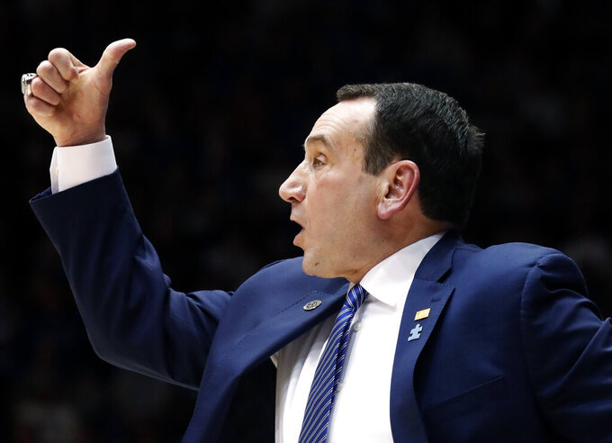 Duke Blue Devils head coach Mike Krzyzewski directs the team against North Carolina State during the second half of an NCAA college basketball game in Durham, N.C., Saturday, Feb. 16, 2019. (AP Photo/Chris Seward)