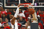 Texas Tech's Terrence Shannon Jr. (1) dunks during the first half of an NCAA college basketball game against Long Island, Sunday, Nov. 24, 2019, in Lubbock, Texas. (AP Photo/Brad Tollefson)