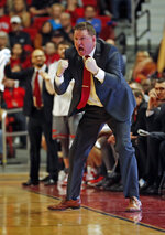 Texas Tech coach Chris Beard yells out at his players during the second half of an NCAA college basketball game against Baylor, Saturday, Feb. 16, 2019, in Lubbock, Texas. (AP Photo/Brad Tollefson)