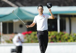 Kevin Na reacts after winning the final round of the Sony Open golf tournament Sunday, Jan. 17, 2021, at Waialae Country Club in Honolulu. (Jamm Aquino/Honolulu Star-Advertiser via AP) Star-Advertiser via AP)