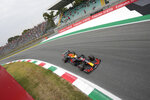 Red Bull driver Max Verstappen of the Netherlands steers his car during qualifying session at the Monza racetrack, in Monza, Italy , Friday, Sept.10, 2021. The Formula one race will be held on Sunday. (AP Photo/Luca Bruno)