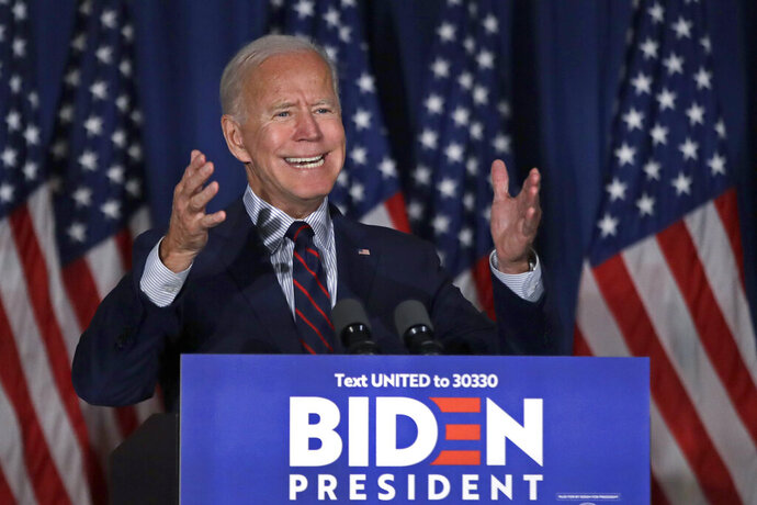 Democratic presidential candidate and former Vice President Joe Biden speaks at a campaign event, Wednesday, Oct. 9, 2019, in Rochester, N.H. (AP Photo/Elise Amendola)