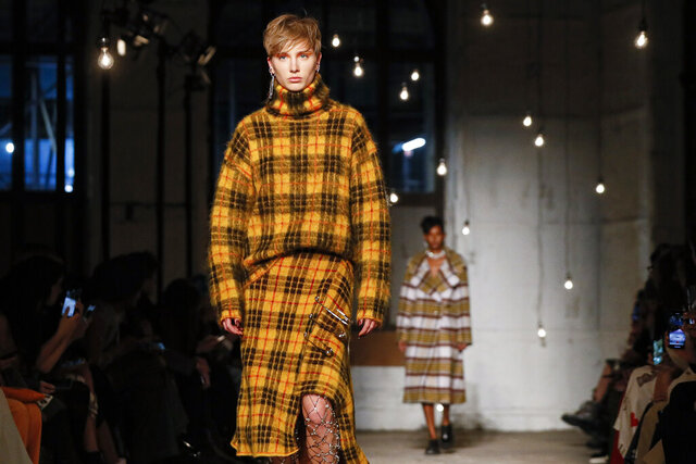The Monse collection is modeled during Fashion Week, Friday, Feb. 7, 2020, in New York. (AP Photo/John Minchillo)