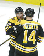 Boston Bruins' Brad Marchand, left, celebrates with teammate Chris Wagner (14) after scoring the winning goal in overtime against the Colorado Avalanche in an NHL hockey game, Sunday, Feb. 10, 2019, in Boston. (AP Photo/Steven Senne)