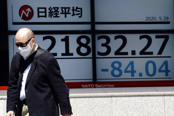 A man walks past an electronic stock board showing Japan's Nikkei 225 index at a securities firm in Tokyo Friday, May 29, 2020. Shares fell Friday in Asia after Wall Street's rally petered out amid worries about flaring U.S.-China tensions. (AP Photo/Eugene Hoshiko)