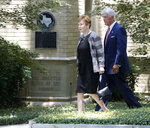 U.S. Rep. Kay Granger, second right, R-Texas, and Rep. Roger Williams, R-Texas, make their way to the entrance, before the start of a memorial service for Henry Ross Perot at Highland Park United Methodist Church in Dallas, on Tuesday, July 16, 2019. H. Ross Perot, a hard-charging Texan with a folksy manner who made billions in business and twice sought the presidency, was celebrated at the memorial service for his devotion to his family, friends, faith and country. (Vernon Bryant/The Dallas Morning News via AP)