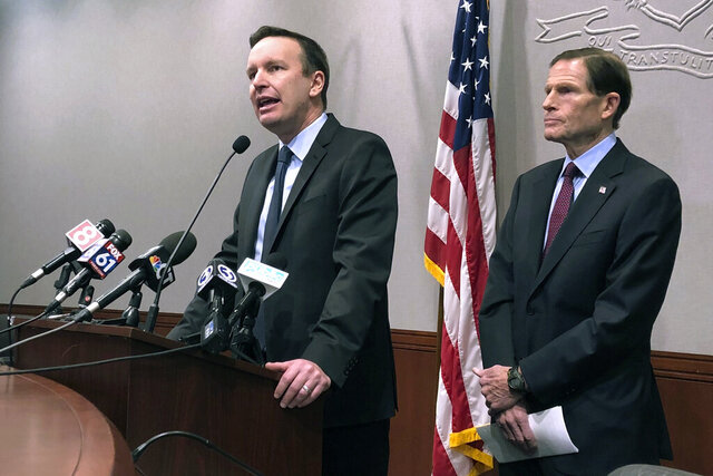 Sens. Chris Murphy, left, and Richard Blumenthal, D-Conn., speak Friday, Jan. 3, 2020, in Hartford, Conn., following the U.S. airstrike that killed Iran's top military commander, Gen. Qassem Soleimani, near near Baghdad's airport in Iraq. (AP Photo/Susan Haigh)