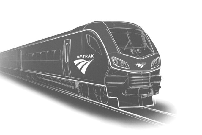 This image provided by Siemens shows a rendering of one of the new Amtrak trains to be built in the U.S. by Siemens Mobility.   Amtrak announced plans, Wednesday, July 7, 2021,  to spend $7.3 billion to replace 83 passenger trains, some of which are nearly a half-century old.   (Siemens via AP)