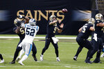 New Orleans Saints quarterback Drew Brees (9) passes in the first half of an NFL football game against the Carolina Panthers in New Orleans, Sunday, Oct. 25, 2020. It was Brees' 7,000 career completion. (AP Photo/Butch Dill)