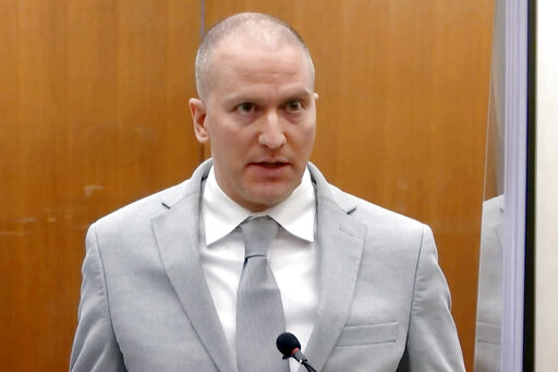 In this June 25, 2021, file image taken from pool video, former Minneapolis police Officer Derek Chauvin addresses the court as Hennepin County Judge PeterCahill presides over Chauvin's sentencing at the Hennepin County Courthouse in Minneapolis. Chauvin, convicted of murder in George Floyd's death, intends to appeal his conviction and sentence, saying the judge abused his discretion or erred during several key points in the case, according to documents filed Thursday., Sept. 23, 2021. (Court TV via AP, Pool, File)