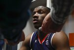 Auburn's Jared Harper answers questions in the locker room after a practice session for the semifinals of the Final Four NCAA college basketball tournament, Thursday, April 4, 2019, in Minneapolis. (AP Photo/Jeff Roberson)
