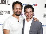 FILE - In this July 31, 2018 file photo, Lin-Manuel Miranda, left, and Thomas Kail attend the opening night of the Shakespeare in the Park production of Public Works'