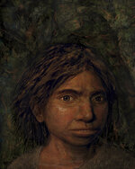 This image provided by Hebrew University in Jerusalem shows a portrait of a juvenile female Denisovan based on a skeletal profile reconstructed from ancient DNA methylation maps.  Scientists say they've recreated a skull and some other features of a mysterious, extinct cousin of Neanderthals by analyzing its DNA.  The genetic material came from the finger bone of a female member of the Denisovans, a population known mostly from small bone fragments and teeth recovered in Siberia's Denisova Cave.  The the renderings that include skin and hair from the profile skeletal profile are not part of the study itself, but rather are based on the study results.  ( Maayan Harel/Hebrew University in Jerusalem via AP)