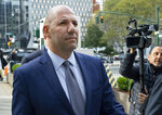 FILE- In this Oct. 17, 2019 file photo, David Correia walks from federal court in New York. Correia and his business partner Lev Parnas, were charged with defrauding investors in a business called