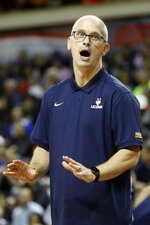 Connecticut's head coach Dan Hurley can't believe a call in the first half of an NCAA college basketball game against Xavier during the Charleston Classic Friday, Nov. 22, 2019, in Charleston, SC. (AP Photo/Mic Smith)