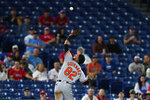 Baltimore Orioles third baseman Kelvin Gutierrez catches a foul out by Philadelphia Phillies' Odubel Herrera during the fifth inning of an interleague baseball game, Tuesday, Sept. 21, 2021, in Philadelphia. (AP Photo/Matt Slocum)