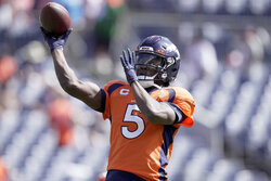 Denver Broncos quarterback Teddy Bridgewater (5) warms up prior to an NFL football game against the New York Jets, Sunday, Sept. 26, 2021, in Denver. (AP Photo/Jack Dempsey)