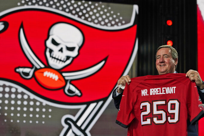 A Mr. Irrelevant jersey is held up during the seventh round of the NFL football draft, Saturday, May 1, 2021, in Cleveland. The final pick of the draft was Grant Stuard, a linebacker from Houston, chosen by the Tampa Bay Buccaneers. (AP Photo/Tony Dejak)