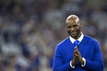 FILE in this Nov. 18, 2018, file photo, former Indianapolis Colts wide receiver Reggie Wayne during a Colts Ring of Honor ceremony during the halftime of an NFL football game between the Indianapolis Colts and the Tennessee Titans in Indianapolis. First-time eligibles Wayne and Troy Polamalu are among 15 finalists for the Pro Football Hall of Fame's modern-day 2020 class. (AP Photo/AJ Mast, File)