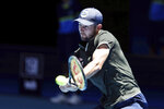 Norway's Viktor Durasovic returns a shot against Russia's Karen Khachanov during their match at the ATP Cup in Perth, Australia, Tuesday, Jan. 7, 2020. (AP Photo/Trevor Collens)