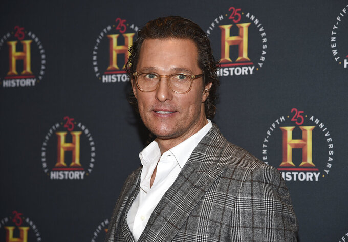 "FILE - In this Feb. 29, 2020, file photo actor Matthew McConaughey attends A+E Network's ""HISTORYTalks: Leadership and Legacy"" in New York. McConaughey is generating buzz as a potential candidate for governor of Texas. (Photo by Evan Agostini/Invision/AP, File)"
