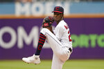 Cleveland Indians starting pitcher Triston McKenzie delivers in the first inning in the first baseball game of a doubleheader against the Kansas City Royals, Monday, Sept. 20, 2021, in Cleveland. (AP Photo/Tony Dejak)