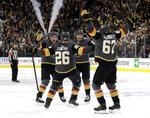 Vegas Golden Knights center Paul Stastny (26) celebrates after scoring against the San Jose Sharks during the second period of Game 3 of an NHL first-round hockey playoff series game, Sunday, April 14, 2019, in Las Vegas. (AP Photo/Isaac Brekken)