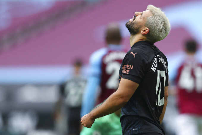 Manchester City's Sergio Aguero reacts during the English Premier League soccer match between West Ham and Manchester City, at the London Olympic Stadium Saturday, Oct. 24, 2020. (Catherine Ivill, Pool via AP)