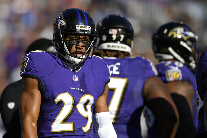 FILE - In this  Sunday, Jan. 6, 2019 file photo, Baltimore Ravens cornerback Marlon Humphrey (29) walks on the field in the first half of an NFL wild card playoff football game against the Los Angeles Chargers in Baltimore. The strength of Baltimore's defense is a secondary led by safety Earl Thomas, signed as a free agent to replace the departed Eric Weddle. The loss of nickel back Tavon Young to a neck injury should hurt, but cornerbacks Marlon Humphrey, Brandon Carr and Jimmy Smith, along with strong safety Tony Jefferson, will provide ample coverage downfield. (AP Photo/Nick Wass, File)