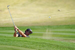 Phil Mickelson hits from a bunker to the 17th green during the first round of The American Express golf tournament on the Nicklaus Tournament Course at PGA West Thursday, Jan. 21, 2021, in La Quinta, Calif. (AP Photo/Marcio Jose Sanchez)