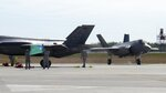 Two F-35 fighter jets are parked after arriving, Thursday, Sept. 19, 2019 at the Vermont Air National Guard base in South Burlington, Vt.  The first two of what will become 20 F-35 fighter aircrafts arrived Thursday at The Vermont Air National Guard, the first guard unit to receive the next-generation fighter. (AP Photo/Wilson Ring)