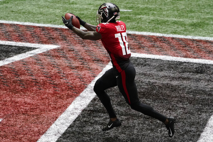 Atlanta Falcons wide receiver Calvin Ridley (18) scores a touchdown against the Detroit Lions during the first half of an NFL football game, Sunday, Oct. 25, 2020, in Atlanta. (AP Photo/John Bazemore)