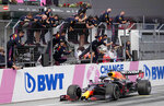 Red Bull teammembers celebrate Red Bull driver Max Verstappen of the Netherlands winning the Styrian Formula One Grand Prix at the Red Bull Ring racetrack in Spielberg, Austria, Sunday, June 27, 2021. (AP Photo/Darko Vojinovic)