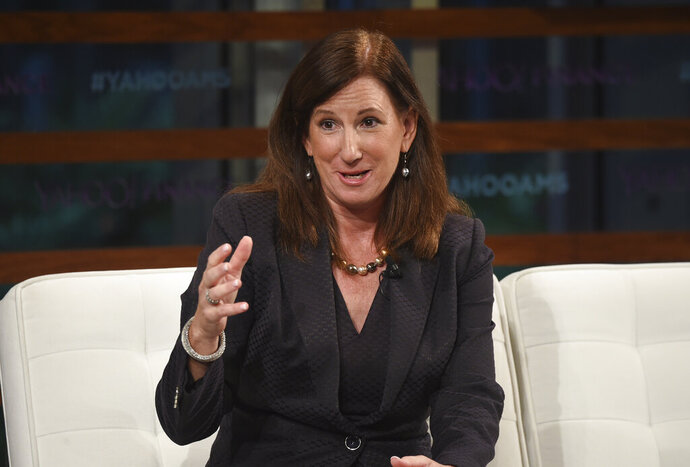 FILE - In this Sept. 20, 2018 file photo, Deloitte CEO Cathy Engelbert participates in the Yahoo Finance All Markets Summit: A World of Change at The Times Center in New York. A person familiar with the decision says Engelbert will be the new WNBA president. The person spoke to The Associated Press on condition of anonymity, Wednesday, May 15, 2019, because the league hasn't publicly announced the hiring. (Photo by Evan Agostini/Invision/AP, File)
