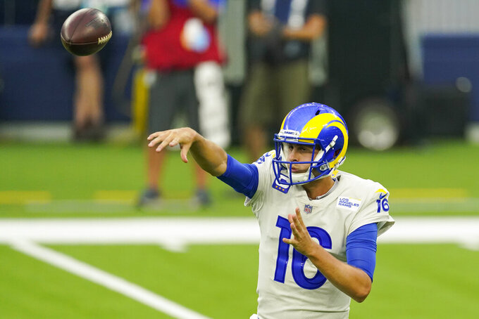 Los Angeles Rams quarterback Jared Goff (16) throws during the first half of an NFL football game against the Dallas Cowboys Sunday, Sept. 13, 2020, in Inglewood, Calif. (AP Photo/Ashley Landis)